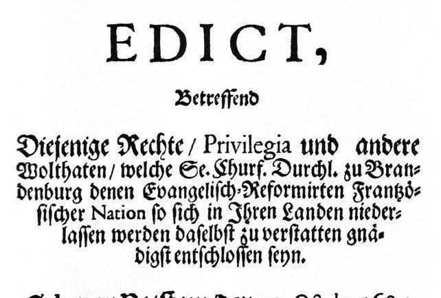 Das Edikt von Potsdam 1685