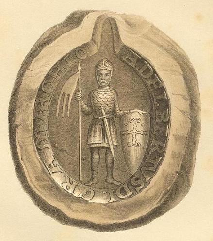 Albrecht auf einem Siegel, Umschrift: Adelbertus D(e)i gr(ati)a marchio (in Brandenborch)