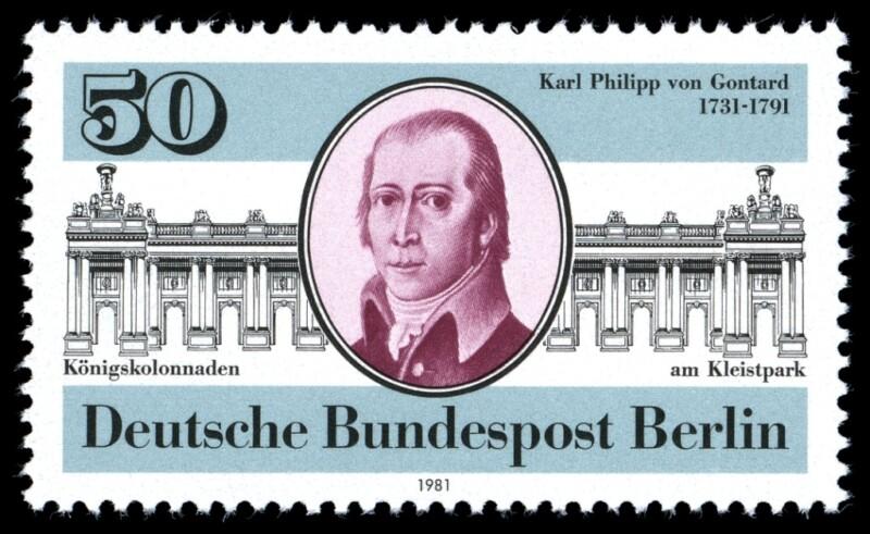 Briefmarkenausgabe zum 250. Geburtstag Gontards (Deutsche Bundespost Berlin 1981)